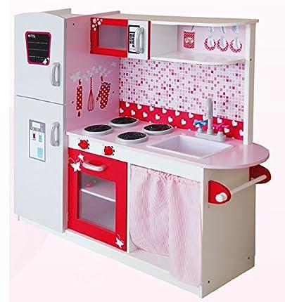 Leomark Grande y Brillante Royal Cocina Madera Infantil de Juguete - color PINK - Para Niños, Juego de Imitación Dim: 104x30x110 (altura) cm