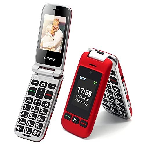 Artfone - Teléfono móvil para personas mayores, sin contrato, doble SIM, pantalla dual con botón de alarma, pantalla de 2,4 pulgadas, con estación de carga, linterna, radio, modo de espera prolongado