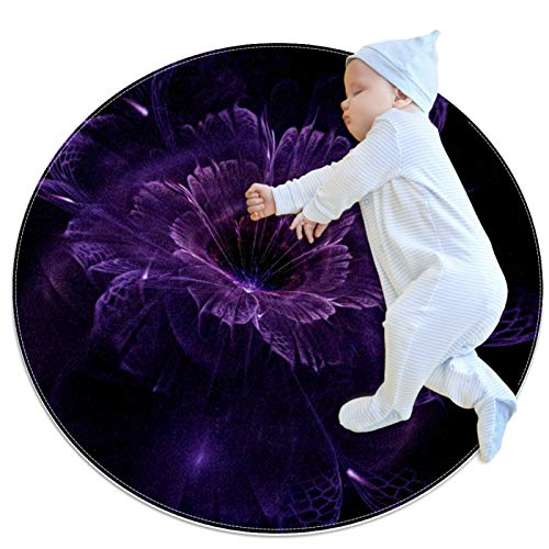 LKJDF Alfombra de juego redonda que gatea estera de gatear alfombra con aire acondicionado, dormitorio infantil para niños, flores púrpuras