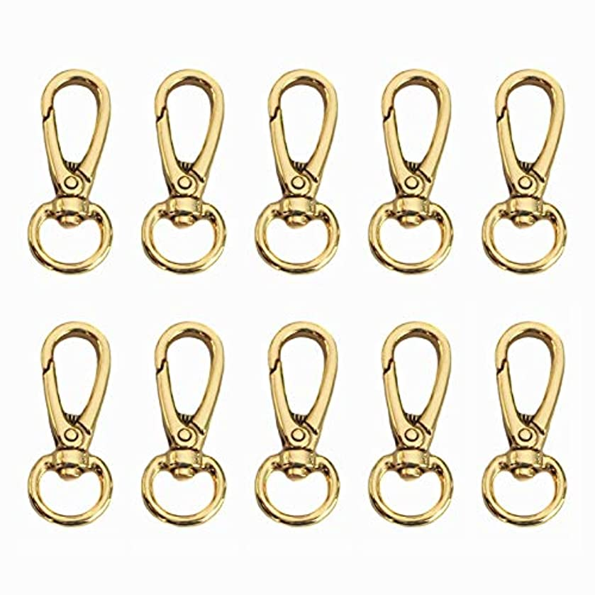 Model Worker 10PCS Flat Buckle Lobster Clasps Swivel Hooks, Handbag Chain Buckles Dog Chain Connector (Gold)