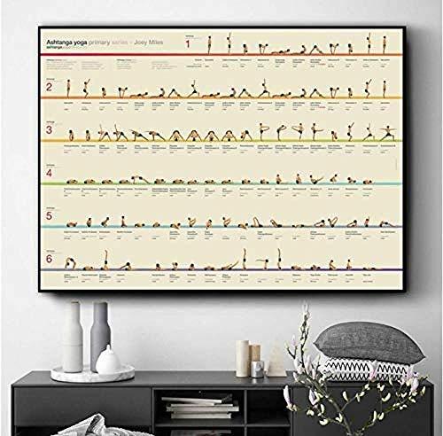 XQWZM Carteles e Impresiones, Yoga Ashtanga Serie Primaria Imagen de la Pintura de la Lona del Arte de la Pared, para la decoración del hogar de la Sala de Estar 50X75Cm sin Marco