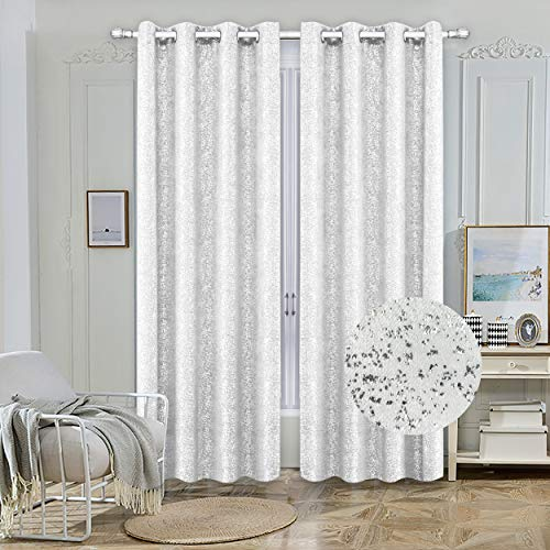 """Nashville Collection Blackout Window Panel Set/Thermal Sparkle Curtains Silver Metallic Design Darkening Drapes 54""""Width 84"""" inch Long for Living Room Bedroom & Dining 100% Blackout (White)"""