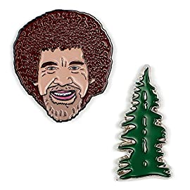 The Unemployed Philosophers Guild Bob Ross and Happy Tree Enamel Pin Set - 2 Unique Colored Metal Lapel Pins 1 Our colorful die-cast Enamel Pins feature historical figures, cultural icons, and big ideas. They're packaged in sets of two with rubber pin backs that really hold on. Set of two pins with strong black rubber backing. Made of brass and zinc alloy with black nickel plating, and hard enamel coloring.