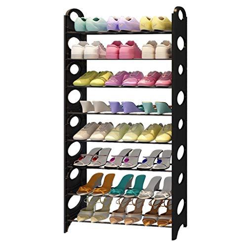 Dormitorio Zapatero Bastidor de zapatos simple Conjunto de almacenamiento doméstico de hierro forjado de múltiples capas Gabinete de zapatos Gabinete de almacenamiento que ahorra espacio (negro) Zapat