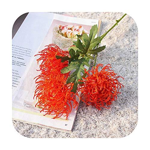 Art Flower 3 cabezas de oro crisantemo rama plástico flores artificiales flores DIY boda decoración del hogar planta hojas verdes