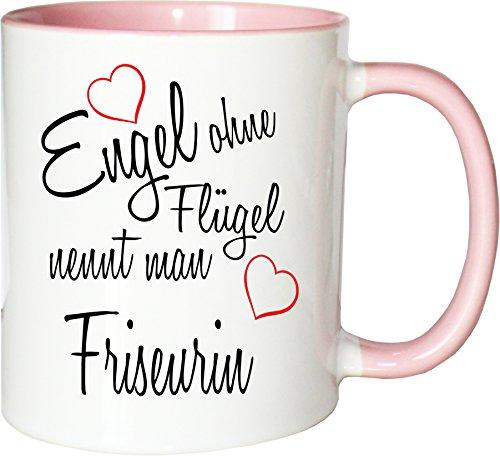 Mister Merchandise Becher Tasse Engel ohne Flügel nennt Man Friseurin Kaffee Kaffeetasse liebevoll Bedruckt Beruf Job Geschenk Weiß-Rosa