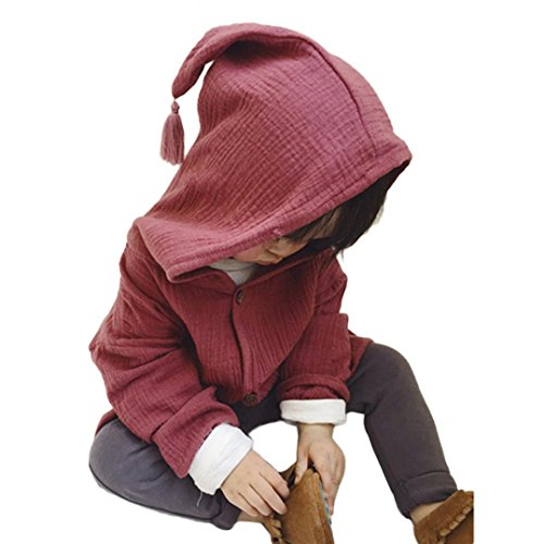 AMUSTER AMUSTER Kleinkind Kinder Unisex Baby Junge Mädchen Mantel Mit Kapuze Hooded Sweatshirt Strickjacke Pullover Outwear Trenchcoat (90, Weinrot)