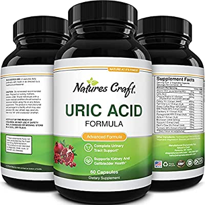 Uric Acid Vitamins for Men and Women – Herbal Full Body Cleanse Joint Support Muscle Recovery and Kidney Support Supplement - Dietary Supplement Pure Tart Cherry Milk Thistle and Bromelain Antioxidant by Natures Craft