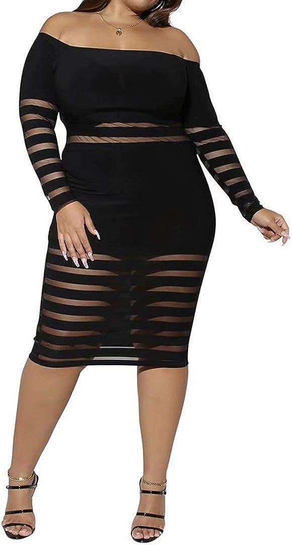 IyMoo Women's Sexy Mesh Lace See Through Bodycon Clubwear Dress Fashion Party Dress