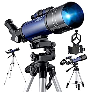 BEBANG Telescope Astronomy, 70mm Aperture 400mm Fully Processed Glass Optics, With Adjustable Tripod, Phone Adapter Mount