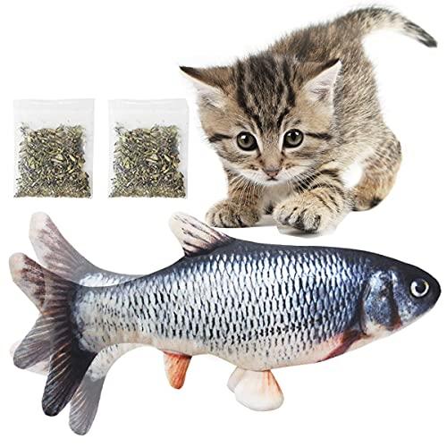 DIWUJI Katzenminze Fisch Spielzeug für Katze, USB Elektrische Wagging Fisch Haustier Interaktive Spielzeug, 30cm Realistische Plüsch Simulation Beißen Kissen Kauen Spielzeug für Katze Kitty Kätzchen