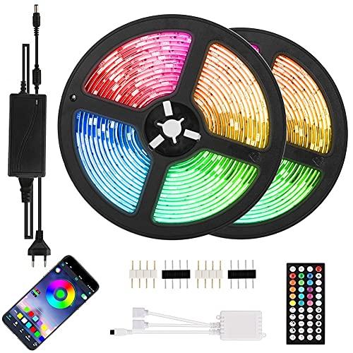 LED Streifen 10m, Bluetooth LED Strip 2x 5M RGB 5050 LED Band IP65 Wasserdicht Lichtband mit APP Bluetooth Kontroller, 44-Tasten Fernbedienung und Selbstklebend für Innen außen Beleuchtung Deko