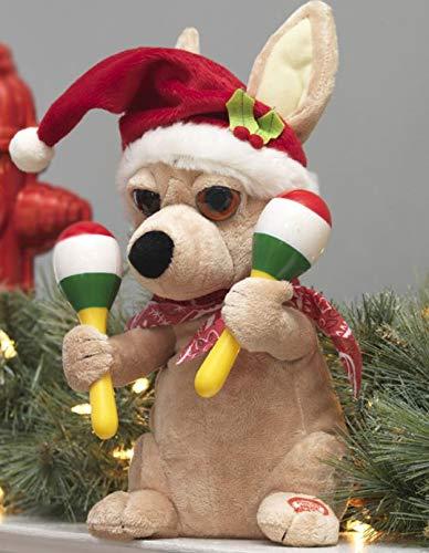RAZ Imports Animated Plush Toy Christmas Dancing 11.5' Chihuahua Dances to La Bomba.