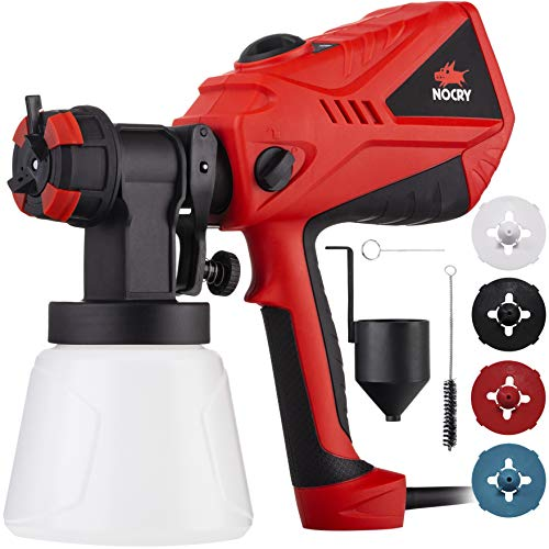 NoCry 1200ml/min Electric Paint Sprayer - 5A/600W Motor, 100 DIN/s Max Viscosity, Adjustable Air and Paint Flow Controls, 33.814fl.oz Container, 3 Spray Patterns; 4 Nozzles Included