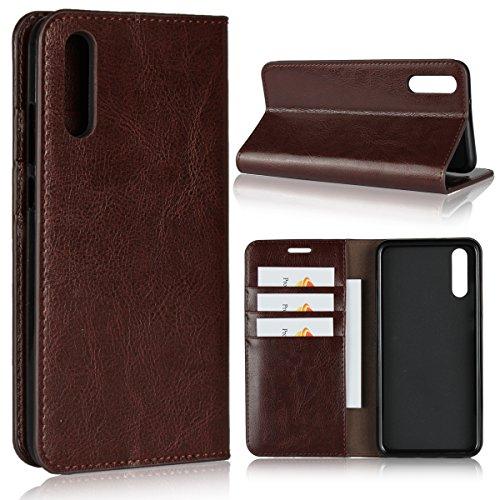 Copmob Hülle Huawei P20,Handyhülle Huawei P20,Premium Flip Brieftasche Ledertasche Handyhülle,[3 Kartenfach][Stand-Funktion][Stoßfestes TPU],Schutzhülle fur Huawei P20 - Dunkelbraun