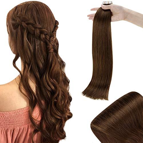 RUNATURE Tape Extensions Klebeband 16 Zoll 40cm Schokoladenbraun Doppelseitiges Klebeband on Haar Extensions 50g Skin Weft Tape Hair Extensions