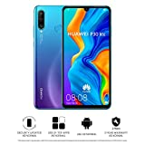 Huawei P30 Lite 128 GB 6.15 inch FHD Dewdrop Display Smartphone with MP AI Ultra-wide Triple Camera, 4GB RAM, Android 9.0 Sim-Free Mobile Phone, Single SIM, UK Version, Blue