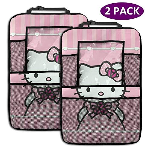 2 Pack Organisateur De Voiture Banquette Arrière - Accessoires De Voiture Princesse Hello Kitty, Protecteur De Siège Arrière Kick Mats avec Support De Tablette Augmenté