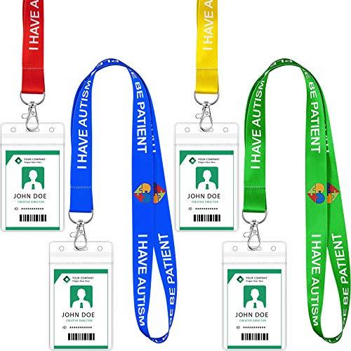 8 Sets Cordón con Tarjetero de Concienciación de Autismo Correas Cordón de Conciencia de Salud Mental Porta Tarjetas Transparente Impermeable para Tarjeta de Identificación Llaves