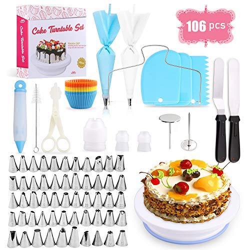 SPLAKS Decorazione Torta Set, 106pcs di Utensili da Decorazione per Torte della Pasticceria Professionale,Supporto per Giradischi Rotante, Spatola Liscia .Adatta per Cupcake, Dolci,Torta
