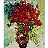 zhxx Pintar por Numeros Adultos Brillante Rojo Crisantemo Flor De La Lona Decoración De La Boda Imagen Artística Regalo 40X50Cm Sin Marco