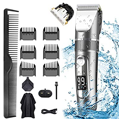 Hair Clippers, KIKOMO Professional Cordless Clippers Hair Trimmer Beard Shaver Electric Haircut Kit IPX7 Waterproof USB Rechargeable LED Display Beard Trimmer for Men and Family Use by KIKOMO
