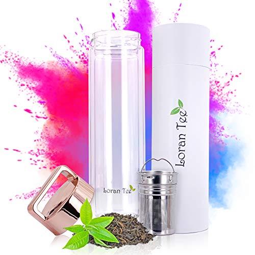 Loran - Teeflasche mit Sieb to go Teamaker 500 ml, Doppelwandig, Isoliert, Glasflasche mit siebeinsatz, Trinkflasche glas mit Filter, Rose - Goldener Deckel, BPA-frei Thermoflasche