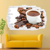 Pegatinas de pared Bebidas Nueces Chocolate caliente Etiqueta de la pared 3d Art Decal Mural Room Decoración de la oficina