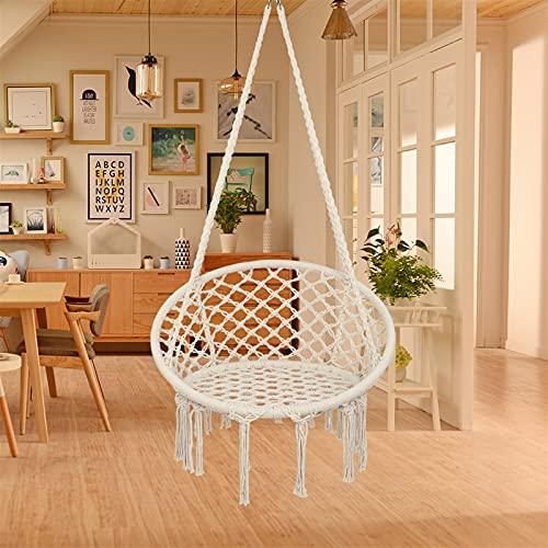MTX-RM Silla hamaca con kit colgante y cadena, cuerda de algodón con columpio macramé, capacidad de 100 kg, para interior, jardín, patio, patio (beige)