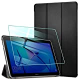 AROYI Hülle für Huawei Mediapad T3 10 Hülle + Panzerglas, Ultra Schlank Schutzhülle Hochwertiges PU mit Standfunktion Glas Panzerfolie für Huawei MediaPad T3 10 (9,6 Zoll), Schwarz