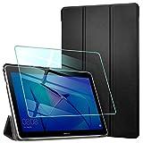 AROYI Funda Compatible con Huawei Mediapad T3 10 y Protector Pantalla, Carcasa Silicona TPU Smart Cover Case con Soporte Función para Huawei MediaPad T3 10 (9,6 Zoll) Negro