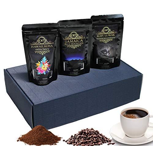 edles und hochwertiges Kaffee Set - Rarität Katzenkaffee Kopi Luwak (von freilebenden Tieren), Jamaika, Hawaii Kona ganze Bohne frisch geröstet