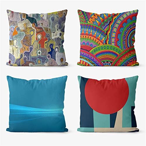 Crazynekos Mandala Abstract Trippy 4 Pieces Two Sides Printed Cushion Pillow Case Cover Sofa Car Chair Decorative (20x20in(50x50cm),Canvas)