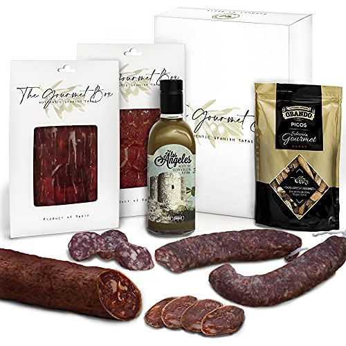 GOURMET BOX - Cesta Gourmet Regalo con Productos Ibéricos Delicatessen - Chorizo Ibérico, Picos Artesanos y Aceite de Oliva Virgen Extra - Cesta de Navidad