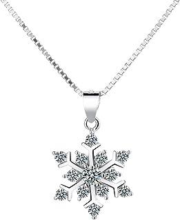 Belons Collar con colgante de copo de nieve, plata de ley 925 con circonita cúbica y copo de nieve, regalo para niñas y mu...