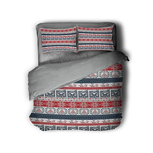 Miles Ralph Nordic King Bed Comforter Scandinavian Inspirations Winter Stitch Gingerbread House and Tree Sleigh Duvet Cover Pillowcase 68'x86' inch Dark Blue Red White