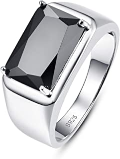 Merthus Men's Vintage Jewelry Synthetic Black Spinel CZ Halo 925 Sterling Silver Wedding Band Ring