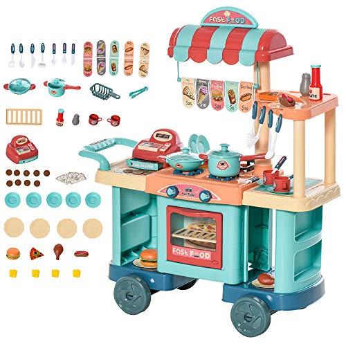 homcom Cucina Giocattolo per Bambini 3-6 Anni, Caffetteria Ristorante con 50 Accessori Inclusi, 79.5 x 33 x 90.5cm