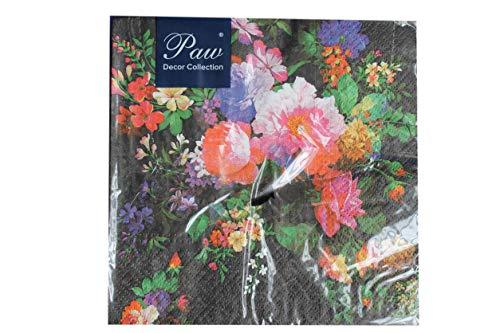 Decorline -20 Serviettes en papier ' ROSES ON VELVET '- 33x33 cm-3 plis