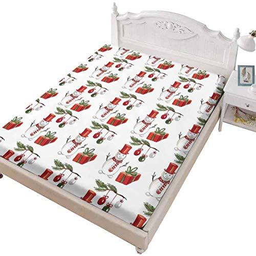 SoSung Twin Size Fitted Sheet 3D Printed with Christmas Vintage Motor,Vintage Santa on Motor Bike with Red Helmet Tree,Bed Cover with All-Round Elastic Deep Pocket for Comfort