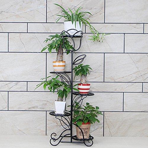 KK- Fleur de Fer Cadre Classique Balcon Type de Plancher étagères de Salon intérieur et extérieur 5 Couches