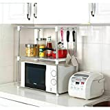 Home Flair Soluciones de almacenamiento de cocina Microwave Stand With Storage Shelves metalizado