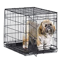Single door folding metal dog crate, New World dog crate measures 24L x 18W x 19H inches & is suitable for small dog breeds between 11 - 25 pounds Folding metal dog crate includes a leak-proof plastic pan & a 1-year Manufacturer's Warranty. Heavy dut...