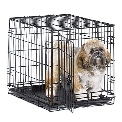 """New World 24"""" Folding Metal Dog Crate, Includes Leak-Proof Plastic Tray; Dog Crate Measures 24L x 18W x 19H Inches, For Small Dog Breed"""