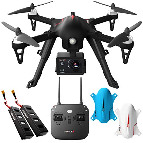 Force1 F100GP Drone with Camera for Adults - GoPro Compatible RC Drone with 1080p HD Video Drone Camera Long Range Brushless Quadcopter with Remote Control, 2 Drone Batteries, 3 Drone Shells