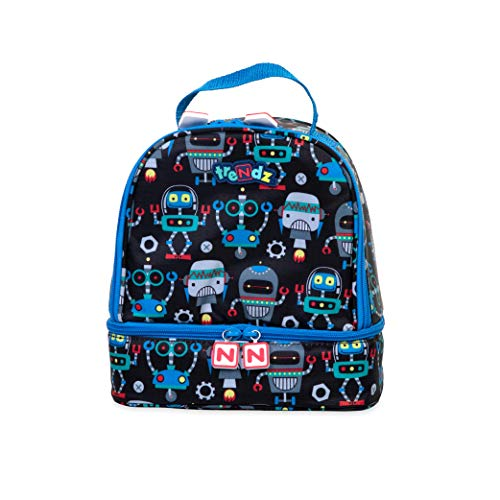 Nuby Trendz # Mega Bytes Double Decker Insulated Lunch Bag, Robots Cartable, 21 cm, Noir (Black, Multicoloured)