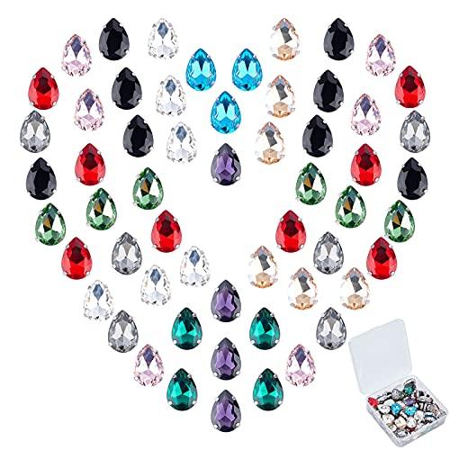 GORGECRAFT 80 Uds, Coser En Diamantes de Imitación Diamantes de Imitación de Cristal con Forma de Lágrima, Piedras Preciosas de Espalda Plana para Manualidades DIY, Joyería, Color Mezclado