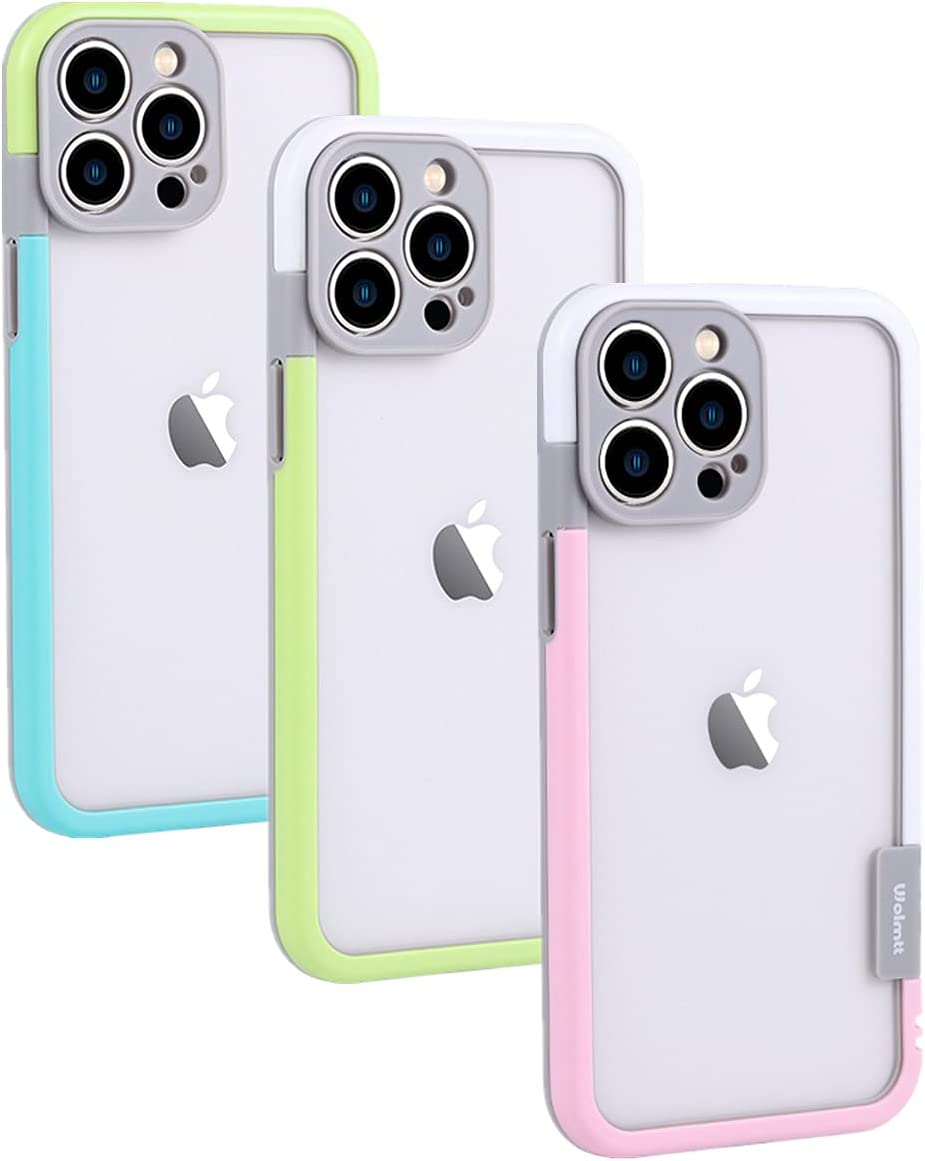 Frame Bumper Case for iPhone 13 Pro Max 6.7 Inch, 3 Colores Set, No-Back Heat Dissipation Better Than Clear, Faster Wireless Charging for Girls Max