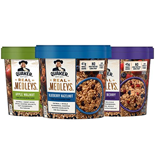 Quaker Real Medleys Oatmeal 3 Flavor Variety Pack Oatmeal Cups 12 Count