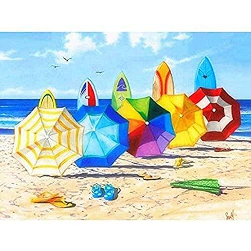 Kits de pintura de diamante 5D para adultos, kits de punto de cruz de pintura de diamante 5D, sombrilla de playa para habitación en casa, paisaje de 40x50 CM
